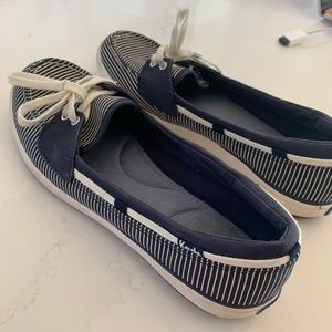 Keds blue and white boat shoes